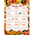 autumn nature 2018 calendar template vector image