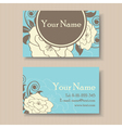 blue floral visit card vector image