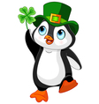 Penguin celebrates Saint Patrick Day vector image
