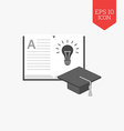 Open book with light bulb and graduation cap icon vector image