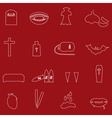 red and white outline vampire icons eps10 vector image