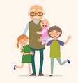 Grandfather with her grandchildren vector image