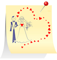 Bride and groom on a sheet pinned clerical pin vector image vector image