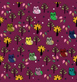 owls forest seamless pattern vector image