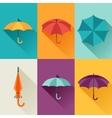 Set of cute multicolor umbrellas in flat design vector image vector image