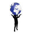 kid with earth vector image