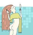 Woman combing hair in her bathroom vector image vector image
