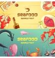 Seafood Cartoon Banners vector image