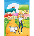 A woman strolling with her dog vector image
