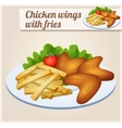 Chicken wings with french fries Detailed vector image