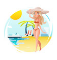 cute happy girl on sunny beach planning summer vector image