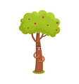 funny tree character hugging heart in leaves vector image