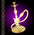 Golden hookah with a pattern vector image