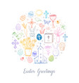 greeting card with colored easter doodles in vector image