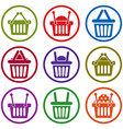 Shopping basket icons isolated on white background vector image