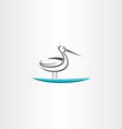 stork in water icon vector image