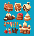 3d cartoon icons of sweets for game design vector image