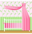 Greeting card with pink baby bed vector image