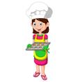 cute mom cartoon with food vector image
