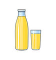 cartoon glass bottle of lemon fruit juice vector image