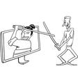 Cartoon man and interactive television vector image