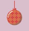 christmas ball with geometric snowflake pattern vector image