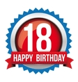 Eighteen years happy birthday badge ribbon vector image