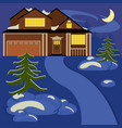 house in winter night vector image