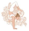 women silhouette arm balance scorpion yoga pose vector image