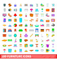 100 furniture icons set cartoon style vector image