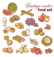 Vintage hand-drawn food set vector image