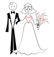 Wedding card with bride and groom vector image vector image