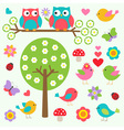 Birds and owls in spring forest vector image vector image