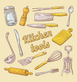 cooking utensils hand drawn doodle kitchen ware vector image