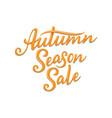 autumn season sale hand written lettering vector image vector image