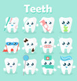 Set of funny icons of teeth vector image