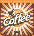 Retro coffee shop design concept on old metal back vector image vector image