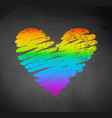 chalked sketch of rainbow colored heart vector image
