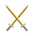 Two crossed golden swords vector image