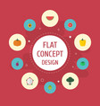 flat icons melon slice apricot gourd and other vector image