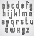 Geometric shape bold poster letters font with hand vector image
