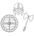 viking warrior set - shield two bladed axe and vector image
