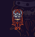 vikings head logo e sports style vector image