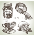 Sketch healthy and medical set Hand drawn vector image vector image