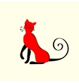 Elegant red cat ornament vector image