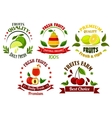 Organic food emblems with fresh fruits and juice vector image vector image