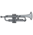 Classic silver trumpet vector image