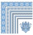 blue colour floral vintage frame design vector image
