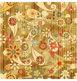 floral wallpaper on striped background vector image