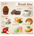 Set of food icons Break time vector image
